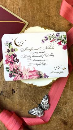 """Lush garden themed wedding invitations with celestial gold stars & crescent moon are sure to set the tone of your wedding. The purple, plum, pink & blush colors can be customized to match your own wedding color palette. Invitations and Save the Dates available with gold, rose gold or silver metallic foil printing. Available in full wedding invitations, save the dates and your """"Day of"""" stationery such as programs and menus. Gilded Swan Paperie is you number one vintage wedding stationery source. Wedding Invitation Trends, Custom Wedding Invitations, Save The Date Invitations, Save The Date Postcards, Vintage Wedding Stationery, Boho Wedding, Wedding Ideas, Celestial Wedding"""