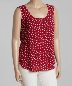 Another great find on #zulily! Burgundy Floral Crisscross Tank - Plus by Blu Pepper #zulilyfinds