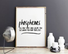 Phosphenes - definition art, word print, poster print, wall art, printable art, printable quotes, by GiveMeMeaning on Etsy