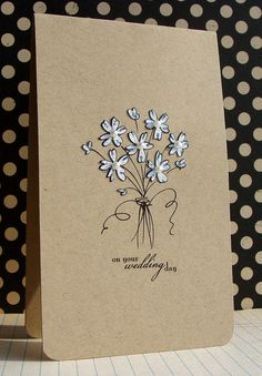 sparkly white flowers with pearls in sketched bouquet make this clean and simple card very special...