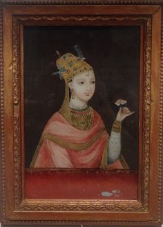 Reverse-glass painting of an Indian woman. China (1700s). Painting on glass. Asian Civilisations Museum, Singapore