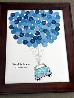 Wedding Guest Book Just Married Car Balloons door SayAnythingDesign