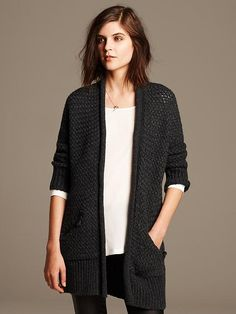 Textured Cocoon Long Cardigan Product Image