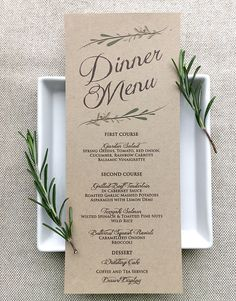 Wedding Menu Card Rustic Wedding Menu Cards Kraft