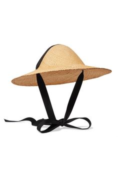CLYDE | Adriatic cotton-trimmed straw hat | NET-A-PORTER.COM
