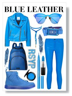 """""""Blue Leather"""" by galaxyopal on Polyvore featuring J Brand, MANGO, Dr. Martens, Express, Vanessa Mooney, Raf Simons, Stila, John Lewis, Kendall + Kylie and MAC Cosmetics"""