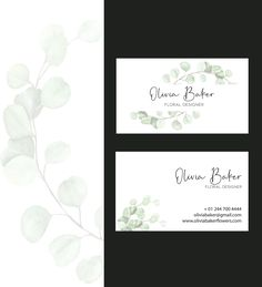Greenery Business Card Template, Business Card Template, Florist Business Cards, Minimalist Business Cards, Premade Business Card Custom Logo Design, Custom Logos, Minimalist Business Cards, Business Logo Design, Business Names, Text Color, Card Templates, Greenery, Floral Design