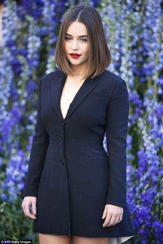 The lady is a vamp: Emilia Clarke oozed sex appeal as she stepped out to Dior's Paris Fashion Week Spring/Summer '16 show at Louvre Palace on Friday