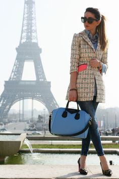 Discover this look wearing Aquamarine Milly New York Blazers, Blue Zara Jeans, Givenchy Bags tagged paris - PARIS JE T'AIME by ncolettausa styled for Chic, Fashion Show in the Winter Daily Fashion, Love Fashion, Fashion Models, Fashion Outfits, Womens Fashion, Quirky Fashion, Travel Fashion, French Fashion, Travel Style