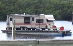 Camper pontoon boat- Trailer park float.                                                                                                                                                                                 More