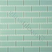 """Aquamarine 1"""" x 3"""" Aqua Crystile Solids Glossy Glass Tile"""