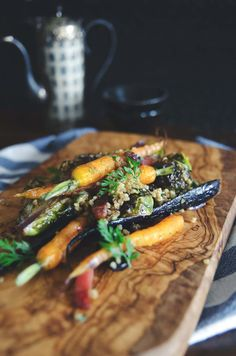 Roasted heirloom carrots, brussels sprouts, spiced chestnut & millet crumble