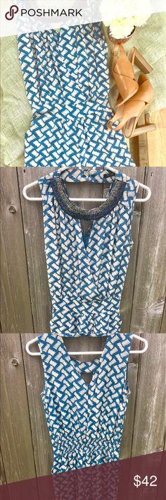 Day & Night blue and white size Small romper Day & Night romper. Size Small. Blue and white. Jeweled neckline. Zipper in back for easy entry and exit. It also buttons at the back of the neck. Has Pockets. Super cute and fun. Wear with wedges or flats. Like new. Worn once. Bought from a boutique #Romper #Blue #White #Flirty #Sassy #Chic #Fashion #Cute #Fun #Pockets #DressUp #DressDown Day & Night Other