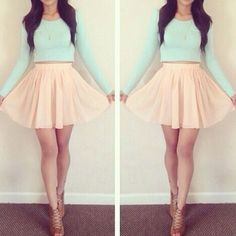 Spring/ Summer fashion outfit ( Style) : Pastel skirt and top - mint and coral.