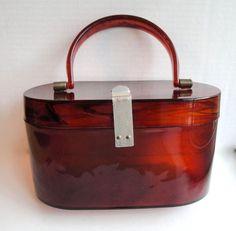 Vintage Purse Lucite Tortoise Shell Plastic Box Bag