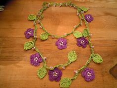 crochet necklace lariat violet flowers green leaves by PashaBodrum