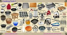 Cooking tools in the Kitchen. English Food, English Study, Learn English, Food Vocabulary, English Vocabulary, Crepe Pan, Egg Timer, I Grill, Home Economics