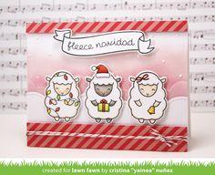 Lawn Fawn Baaah Humbug Sheep Christmas card by Yainea.