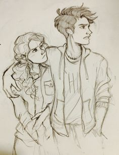 "Seven Heroes Of Olympus - - Seven Heroes Of Olympus Uncle Rick vvivaa: ""I'm in the midst of a terrible art block but I found a cute photo of Andrew Garfield and Emma Stone and so I had to draw it as percabeth….I had no choice "" Percy Jackson Fan Art, Percy Jackson Fandom, Art Drawings Sketches, Love Drawings, Drawing Art, Drawing Tips, Pencil Drawings, Hipster Drawings, Learn Drawing"
