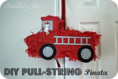 How to make this fire truck Pull String Piñata. Great for a fire truck birthday party!