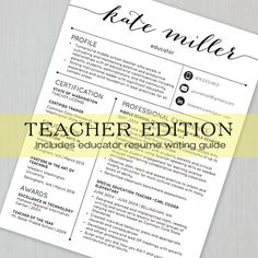 Teacher Resume Templates are designed specifically with educators in mind. All templates are are loaded with education related verbiage and sample