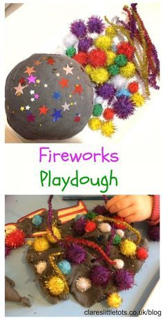 Fireworks playdough perfect invitation to play for toddlers and preschoolers for Bonfire Night, New Years Eve, 4th July or Diwali.