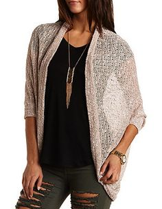 Marled Pointelle Cocoon Cardigan: Charlotte Russe