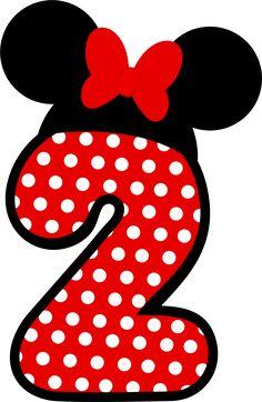 Números a lo Minnie en Rojo.