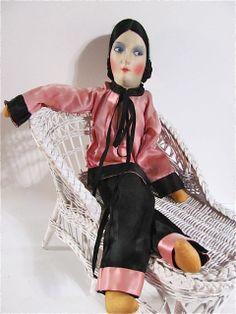 Silk Face Boudoir Doll In Lounging Pyjamas Vintage 1930s All Original