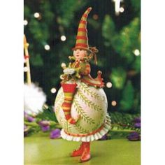 """Patience Brewster 7"""" Patience Brewster Krinkles Mrs. Santa with Stocking Christmas Ornament"""