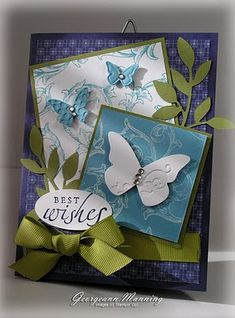 Stampin' Everything!: All a-Flutter - SU Butterfly Wings DIe; maybe Creative Elements Stamped in background.  Paper: Concord Crush DSP, Old Olive & Marina Mist.  Really nice card!