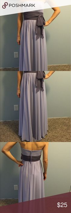 Light Purple formal dress Light purple chiffon dress with dark purple mid section. Lightly used size 0 Alfred Angelo Dresses Strapless