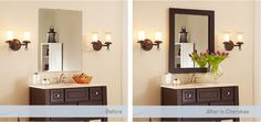 Add a frame to the mirror - while it's on the wall! Easy, affordable DIY with BIG results. Mirror Frames for Mirrors | MirrorMate Frames