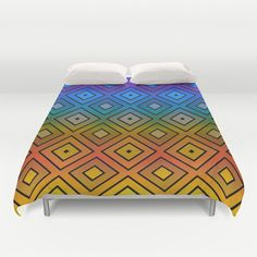 Colorful Diamond Print Duvet Cover by KCavender Designs - $99.00 #Duvet #Cover #Bedding #Bedroom #Decor By #KCavenderDesigns