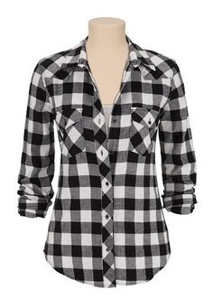silver jeans co. � black and white checked flannel shirt (original price, $68) available at #Maurices