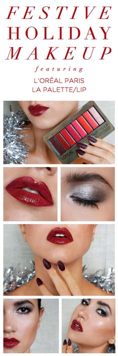 Festive holiday makeup look featuring a shimmery smoky eye and a bold red lip. Get the look with La Palette limited edition Red lip kit and Colour Riche Pocket Palette eye shadow in Silver Couture.