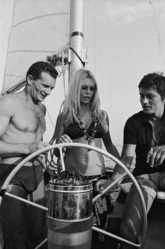 Brigitte Bardot with Alain Delon and Eric Tabarly in Saint-Tropez, 1968.
