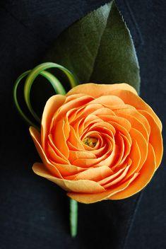 Orange Ranunculus - Clay Flower Boutonniere - by EstiloWeddings, via Flickr