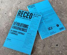 Guillaume Lavezzari ** Graphic Designer - Paris, France ** La RECEO est une revue scientifique trimestrielle publiée depuis 1970 par le CNRS. Elle s'attache à comprendre la complexité des enjeux et évolutions des pays, cultures et peuples de l'ex-bloc Soviétique dans le contexte de l'URSS .