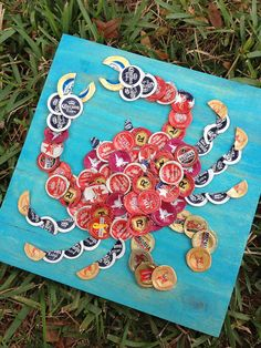 Beer Cap Red Crab on Turquoise Wood 12 x 12 Ready by KaysCapArt, $75.00