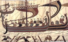La Tapisserie de Bayeux - Les navires prennent le large dans la nuit du 27 au 28 septembre 1066