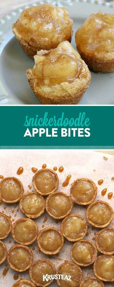 These little drops of heaven are the perfect little dessert or after school treat! All you need is our snickerdoodle cookie mix! #krusteaz #snickerdoodle #applepie #bites Mini Desserts, Christmas Desserts, Just Desserts, Delicious Desserts, Yummy Food, Small Desserts, Apple Desserts, Apple Recipes, Fall Recipes