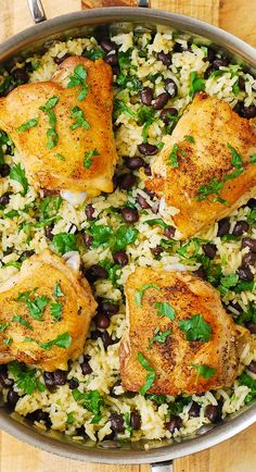 One-Pan Chicken Thighs with Cilantro-Lime Black Bean Rice - delicious, healthy, gluten free dinner!