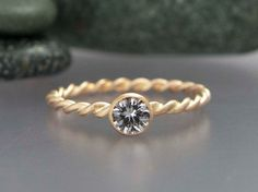 Gold Twist Engagement Ring -  Choice of White Sapphire, Moissanite or Diamond in Solid 14k Gold, by LichenAndLychee