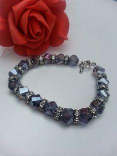 Purple Multi Facet Glass Beads and Cubic Zirconium Beaded Bracelet