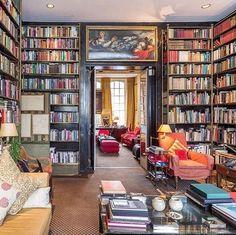 Gorgeous 46 Colorful Home Library Decor Ideas to Inspire You # Bookshelf Design, Bookshelves, Home Library Design, House Design, Home Library Decor, Cozy Library, Library Inspiration, Home Libraries, Reading Room