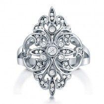 Cubic Zirconia CZ 925 Sterling Silver Fleur De Lis Art Deco Ring