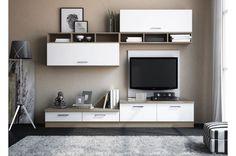 Conjunto modular para el salón en colores cambria y blanco,  de línea muy actual. Tiene un ancho de 240 cm. 374,14€