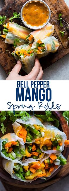 These mango bell pepper rice paper rolls are the perfect summer food! They are stuffed with lots of amazing veggies and come with an insanely delicious mango cilantro dipping sauce! These spring rolls easy to make and naturally gluten free, vegan and low Mango Recipes, Summer Recipes, Asian Recipes, Ethnic Recipes, Vegetarian Recipes, Cooking Recipes, Healthy Recipes, Crockpot Recipes, Appetizer Recipes