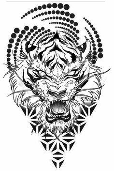 Tiger Tattoo Design, Tattoo Design Drawings, Tattoo Sketches, Tattoo Designs, Henna Tattoo Hand, Arm Tattoo, Body Art Tattoos, Sleeve Tattoos, Geometric Sleeve Tattoo
